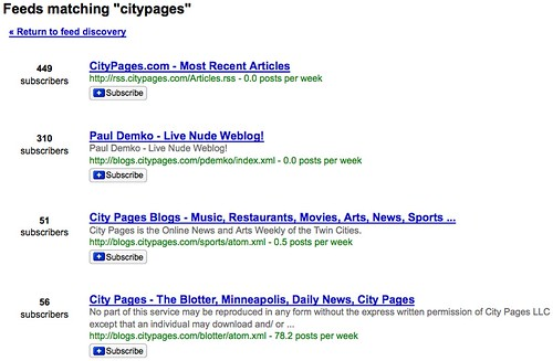 CityPages Feeds in Google Reader