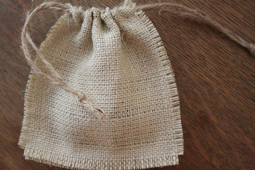 burlap drawstring bag