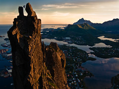 Dreams never end (henrikj) Tags: ocean sunset people cliff mountain lake mountains reflection nature water silhouette norway coast july location fav20 calm atlantic explore climber fav30 2008 lofoten abseiling atlanticocean 07 midnightsun svolvaer svolvr abseil fav10 fav25 fav40 svolvrgeita svolvaergeita av50 storkongsvatnet