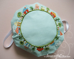 Happy Village drawstring bag (merwinglittle dear) Tags: project book pretty ray pattern little handmade embroidery sewing craft felt aimee purses pouches lark