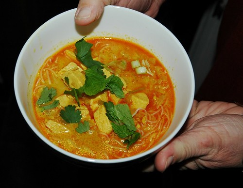 Spicy Curry Noodle Soup with Chicken
