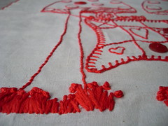 redwork (**tWo pInK pOSsuMs**) Tags: red embroidery stitchery thequiltproject redework
