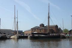 Tall ships, Gloucester Docks (LaJoyeuse) Tags: canal bluesky gloucester masts tallships rigging warehouses redbrick gloucesterdocks canon500d