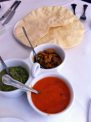 Poppadoms at Mezbaan Indian restaurant, Edinburgh