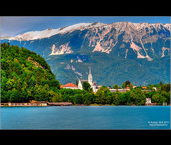 Julian Alps (Aubrey Stoll) Tags: trees lake snow mountains water landscape nikon europe tripod eu easterneurope slovenian lakebled julianalps d700 churchtrees 70200mmf28lens