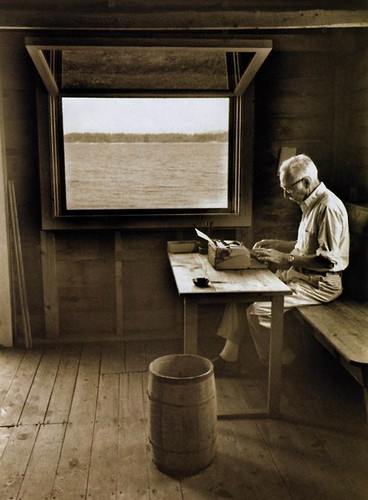 e.b white writing in his boathouse