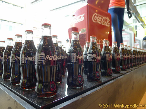 Coca Cola 125th Anniversary Special Edition 'Hutchinson' bottles and 50's style soda bar at Selfridges