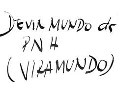 """texto escrito numa toalha de mesa: """"Devir mundo da PNH (viramundo)"""""""