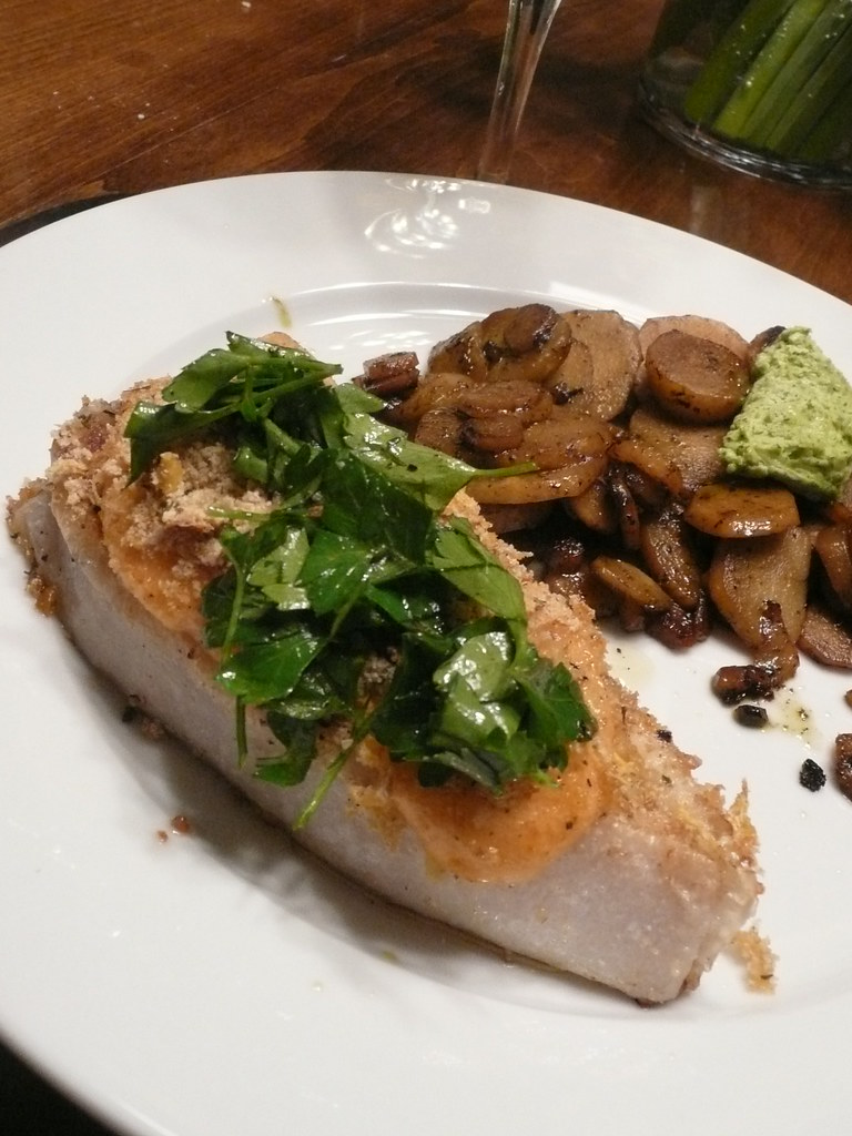 Halibut with horseradish aoili and parsley sauce