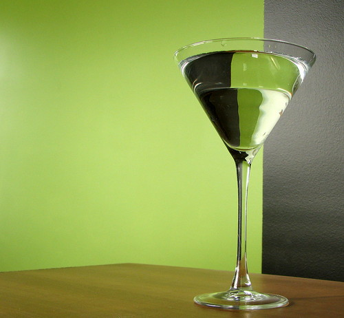 water in martini glass: still life