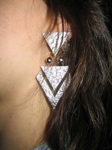 Silver Leather and Clear Plastic Earrings