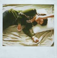 April Fools! (Kate Pulley) Tags: amanda silly film water polaroid sleep cream feather system shaving april string spectra fools pranks hehe iloveeeeeethewindowlightinghere