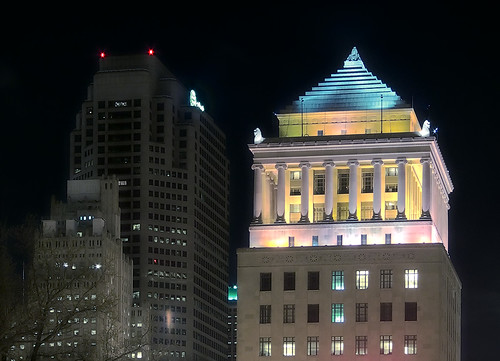 Civil Courts and AT&T Building at night, in Saint Louis, Missouri, USA