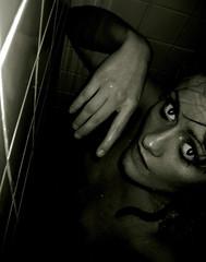Can't tame the best of me, let alone the rest of me (Elsa Prinsessa) Tags: portrait blackandwhite selfportrait wet girl dark iceland eyes surrealism gray reykjavik chiaroscuro elsa artisticexpression mywinners artlibre excellentphotographerawards elsaprinsessa elsabjrgmagnsdttir