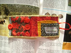 stash buster cuff- red china (rosie.ok) Tags: red black yellow buttons jewelry fabric bracelet quilted cuff accessory