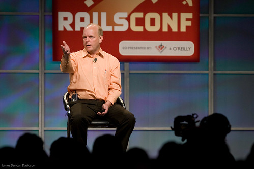 Kent Beck of Three Rivers Institute on the RailsConf 2008 stage.