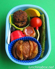 Burger & fries bento lunch for preschooler