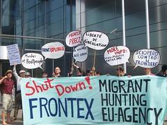 shut down frontex (in front of the frontex HQ)