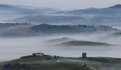 In The Morning Lights, Pienza Tuscan. landscape at 05:08:12 (fabio c. favaloro) Tags: morning italy panorama birds fog landscape landscapes spring nikon  dream rights tuscany mistake pienza toscana 2008 tuscan 1600iso d300 80200mmf28dnew allrightsreserved nikond300 fabiocfavaloro theemptyplaces fabiofcfavaloro