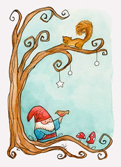 gnome, painted. (merwinglittle dear) Tags: tree art watercolor painting mushrooms gnome squirrel nom