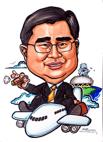 Caricature for Ernst & Young airplane cigar Merlion Esplanade