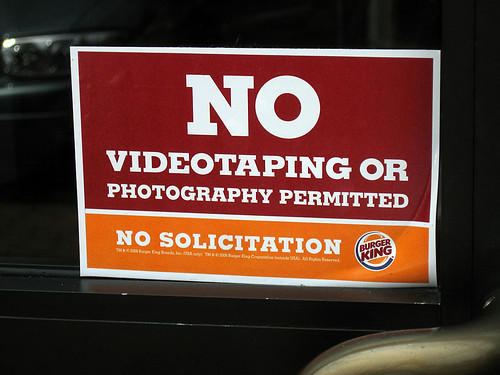 Photographers Not Welcome at Burger King