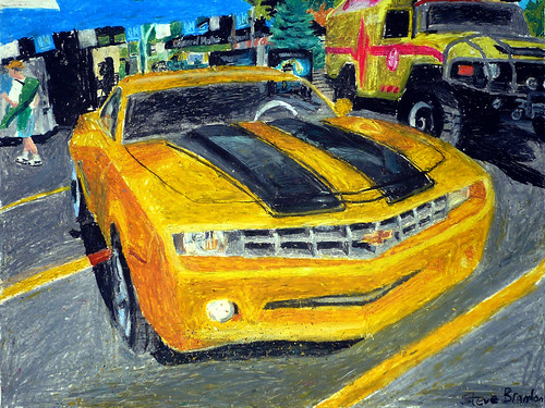 An oil pastel drawing of the Bumblebee Camaro Concept car.