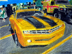 An oil pastel drawing of the Bumblebee Camaro Concept car. (Steve Brandon) Tags: auto usa art chevrolet film car painting movie geotagged restaurant parkinglot automobile gm artist drawing michigan pastel unitedstatesofamerica fineart detroit diner voiture camaro bumblebee chevy transformers oil suburb  autobot royaloak crayola oilpastel conceptcar generalmotors woodwardavenue pastelpainting pasteldrawing mungyo woodwarddreamcruise  michaelbay cotcmostinteresting   gmfyi    athensconeyisland    ottawaartist automobileart
