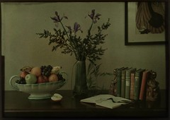 Still-life with fruit bowl, flowers and books (George Eastman House) Tags: flowers iris stilllife color fruit book still books vase 1910 tabletop georgeeastmanhouse autochrome williamellis photo:process=colorplatescreenautochromeprocess color:rgb_avg=393620 williamshewellellis geh:accession=198217380001