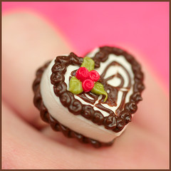 Sweetheart Chocolate Cake (stOOpidgErL) Tags: flower cute love rose cake dessert miniature diy necklace heart sweet handmade chocolate craft jewelry ring plastic resin pendant fauxfood stoopidgerl