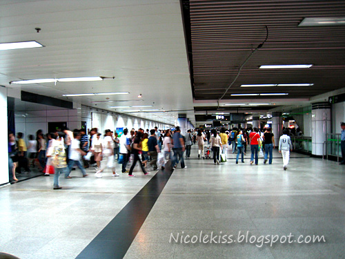 moving crowd in shanghai underground