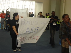 Homeless people protest at AIDS 2008
