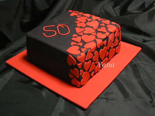 Red And Black Square Wedding Cakes