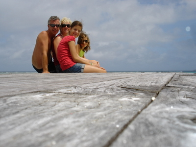 The family on Anse d'Argent on La Digue (Seychelles)
