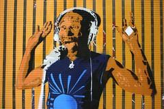 Lee 'Scratch' Perry (just.Luc) Tags: blue brussels music streetart man window yellow jaune fun happy graffiti hands blauw dj arms african joy bruxelles tshirt bleu uomo amarillo gelb lee muziek headphones microphone blau scratch brssel deejay brussel geel perry fentre windowpane hombre homme vitre oker ruit exhilarating venster koptelefoon discjockey microfoon marollen marolles exhilarated kandelaarsstraat occhre ruedeschandeliers