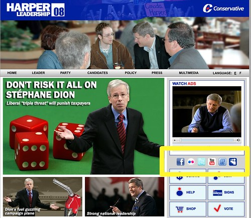 Social Networking Icons on Conservative Site