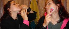 Imagine Shaving Your Face... Everyday! (Glenda GlitaGrrl) Tags: pink black hair necklace selfportraits clones bangles 365days theworldinpink