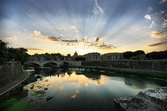 Vatican Sunset (` Toshio ') Tags: bridge sunset sky italy pope vatican stpeters rome colors clouds river landscape europe catholic dynamic basilica faith religion perspective bridges ponte dome tiber rays peters hdr europeanunion vaticancity toshio tiberriver mywinners abigfave highdynamicresolution anawesomeshot karmanominated goldstaraward saintpetersbasilical