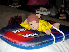 Not Takin' Any Chances! (Monkey & Timmy) Tags: storm texas hurricane houston bungee timmy thinkgeek boogieboard weatherreport hurricaneike actionkritterznewsweather doboogieboardsfly
