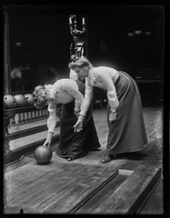 Women Bowling (George Eastman House) Tags: women candles lane bowling bowlingball bowlingballs georgeeastmanhouse vintagebowling color:rgb_avg=383838 williammvanderweyde geh:accession=197400560691