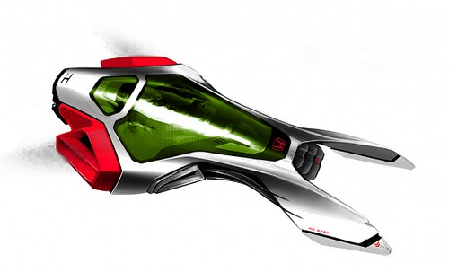 Fifth futuristic car photo, white, red, and green, reminiscent of a Budweiser speed-boat