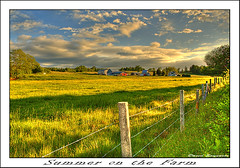 Summer on the Farm (Dave the Haligonian) Tags: red summer sky sun canada green field grass sunshine clouds barn fence nikon novascotia d70 ns farm meadow hay hdr hdrfromasingleraw upperrawdon