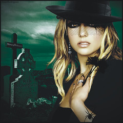 Britney Spears [Womanizer Dark Version] ( Omar Rodriguez V.) Tags: flower art beautiful cemetery hat lady night clouds dark spider photo promo eyes shoot princess spears circus album lapida version makeup queen popart nails single earrings draw blackout omar 2008 britney 2009 rodriguez britneyspears corel photopaint inthezone womanizer workart slave4britney