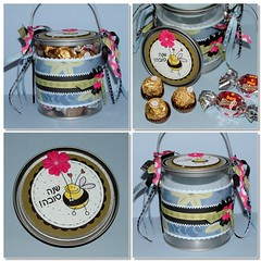 Wine & Pail of chocolates for Rosh Hashanah (2) (yifatiii) Tags: holiday altered scrapbook scrapbooking paper ribbons wine sweet chocolate chocolates newyear stamp bee gift present jewish punch prima alter pail ferrerorocher cardstock roshhashanah  jewishnewyear    bonobon  clearpail