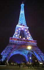 Tour Eiffel ( ILMARTINO ) Tags: blue light paris france tower night stars european tour flag eiffel gustave mywinners colourartaward