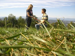 Down on one knee (samschaeffer) Tags: pink blue autumn trees brown mountains green fall me apple grass virginia scenery you gray tan smith orchard highlights will blonde carter charlottesville brunette threadless granny proposal marry