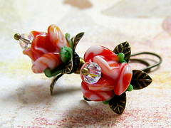 Strawberry Cream Rose earrings (Mirela Jazdzewska) Tags: flower glass rose vintage crystal blossom handmade jewelry jewellery bloom handcrafted accessories swarovski earrings etsy jewelery brass jantar lampwork newnewteam