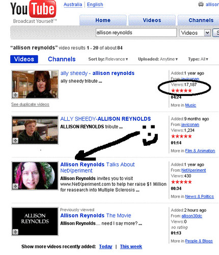 Allison Reynolds YouTube Search