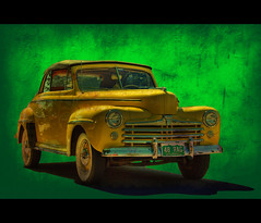 1948 Ford Rag (Thad Roan - Bridgepix) Tags: auto green classic ford 1948 texture car yellow photoshop automobile colorado convertible ps denver collectible rag hdr carshow littleton photomatix 200809 goldstaraward
