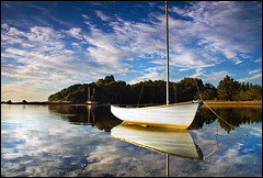 Tata Beach Lagoon (Daniel Murray (southnz)) Tags: sea newzealand sky reflection beach water landscape boat marine scenery ship tata lagoon nz southisland southnz